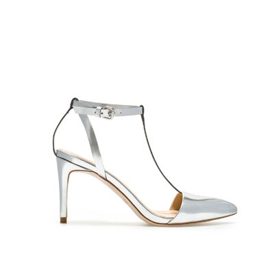LAMINATED HIGH-HEEL SANDALS WITH ANKLE STRAPS- Zara